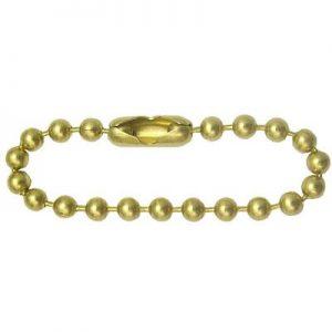 Sleutelketting met slotje goud kleurig vermessingd 1,5 tot 2,0 mm, 10 cm lang